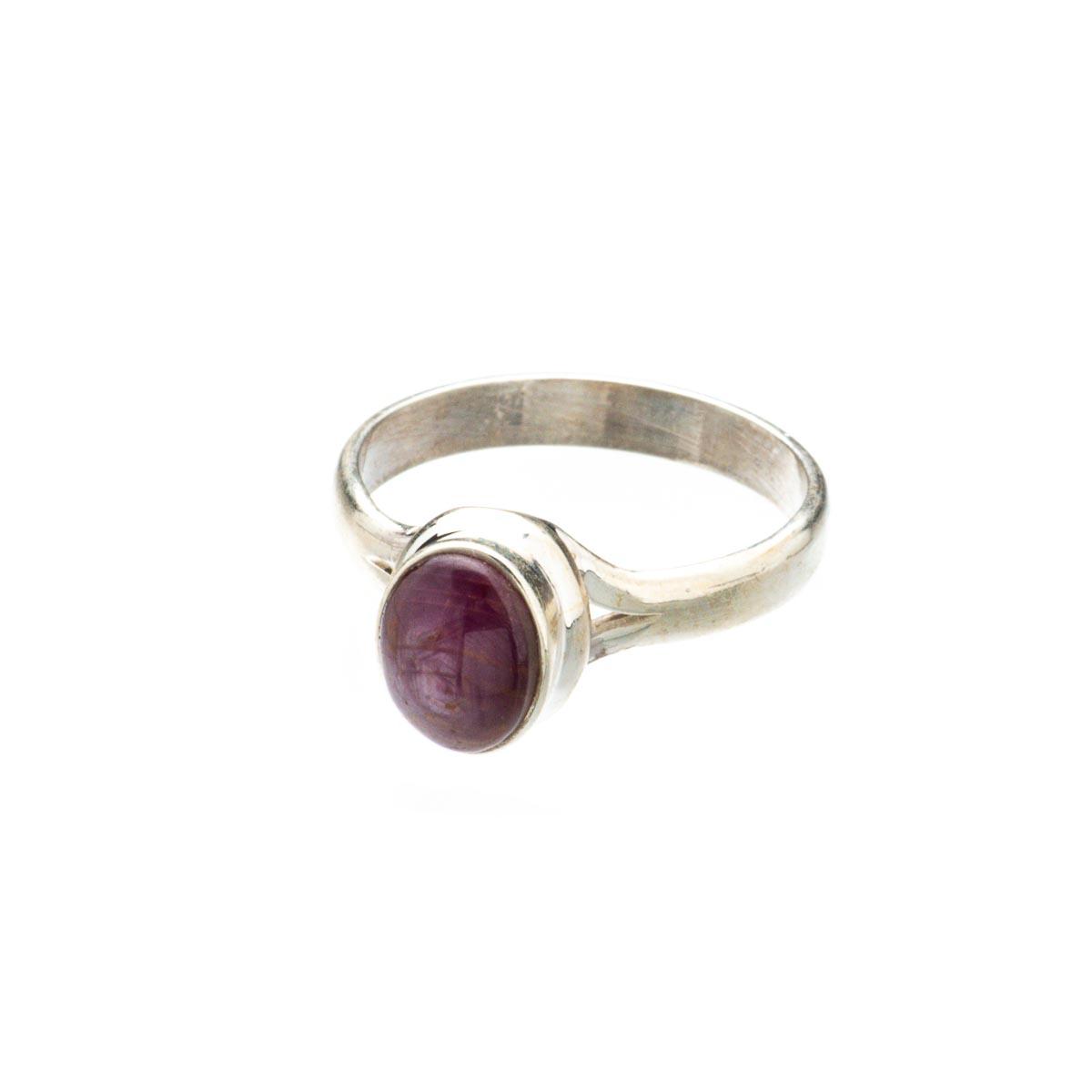 Комплект украшений с натуральным звездчатым рубином из серебра