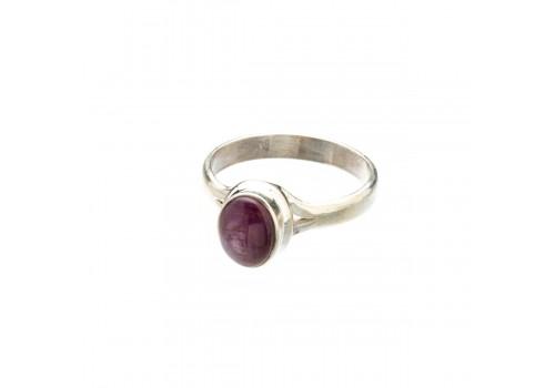 Кольцо из серебра с натуральным рубином, 19 размер