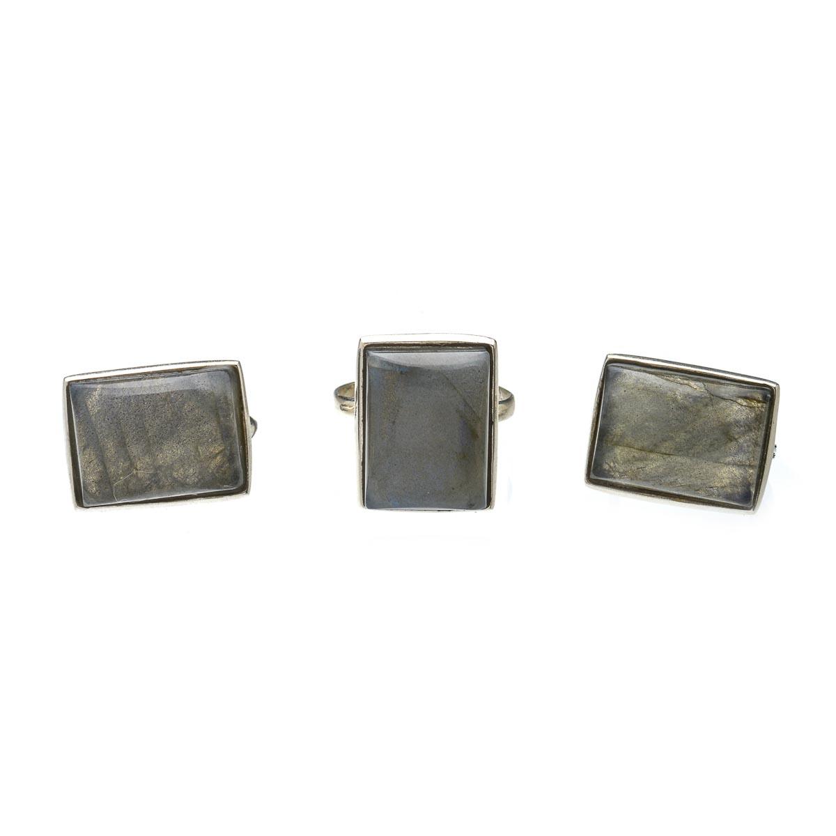 Комплект украшений из серебра с лабрадором