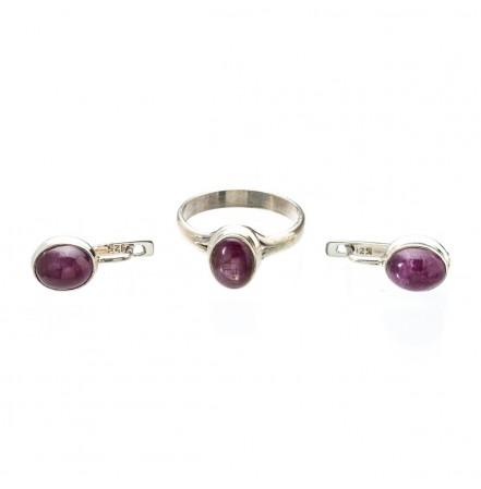 Комплект украшений из серебра с натуральным рубином