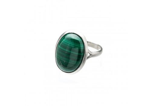 Кольцо из серебра с натуральным малахитом, 19.5 размер