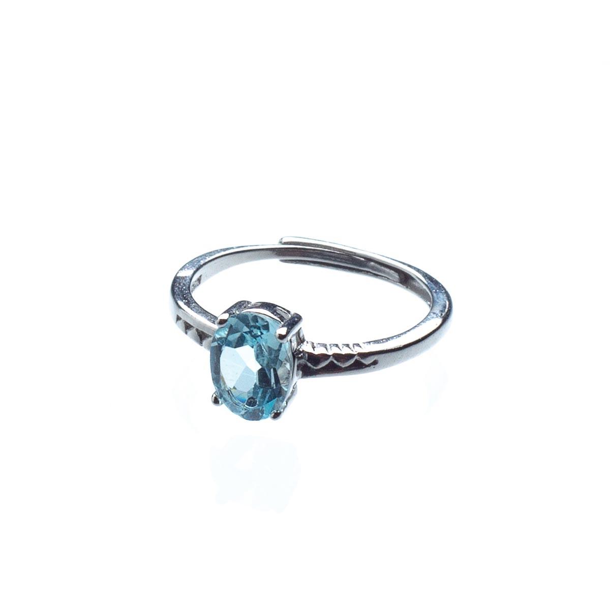 Кольцо из голубого топаза, безразмерное