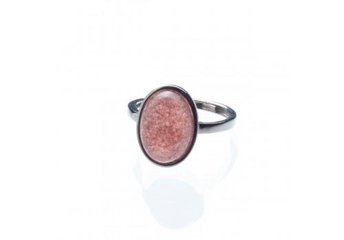 Кольцо из кварца клубничного, безразмерное