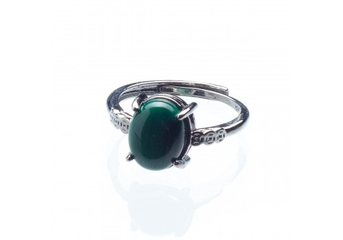 Кольцо из натурального малахита, безразмерное