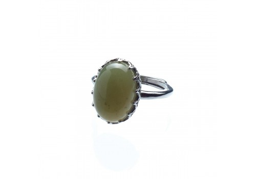 Кольцо с нефритом, безразмерное