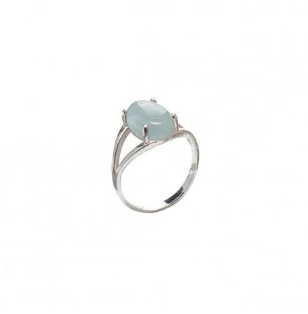 Кольцо с натуральным аквамарином из серебра