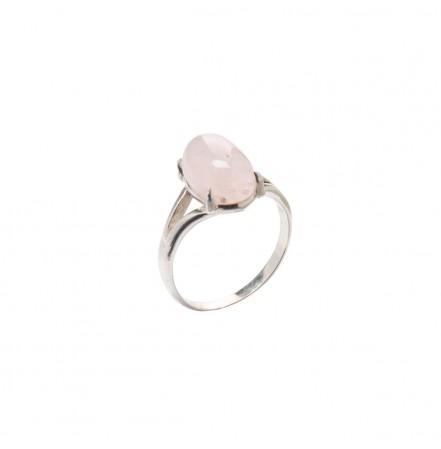 Кольцо с натуральным морганитом из серебра