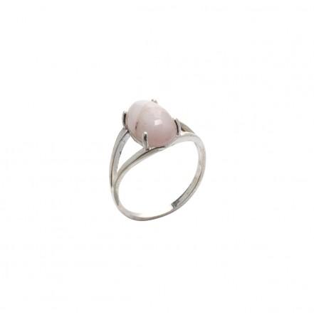 Кольцо с натуральным кунцитом из серебра