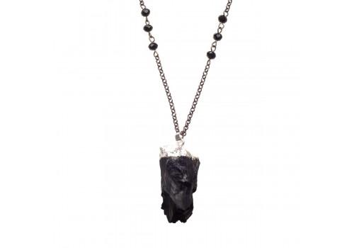 Кулон с натуральным черным турмалином шерл