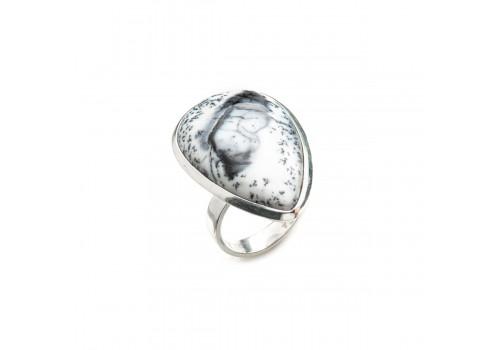 Кольцо из серебра с дендроагатом, 18.5 размер