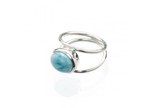 Кольцо из серебра с ларимаром, 19 размер