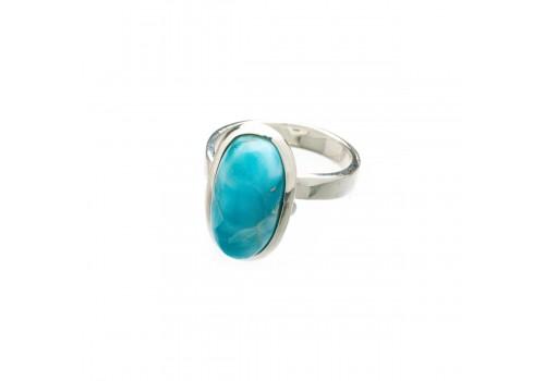 Кольцо из серебра с ларимаром, безразмерное