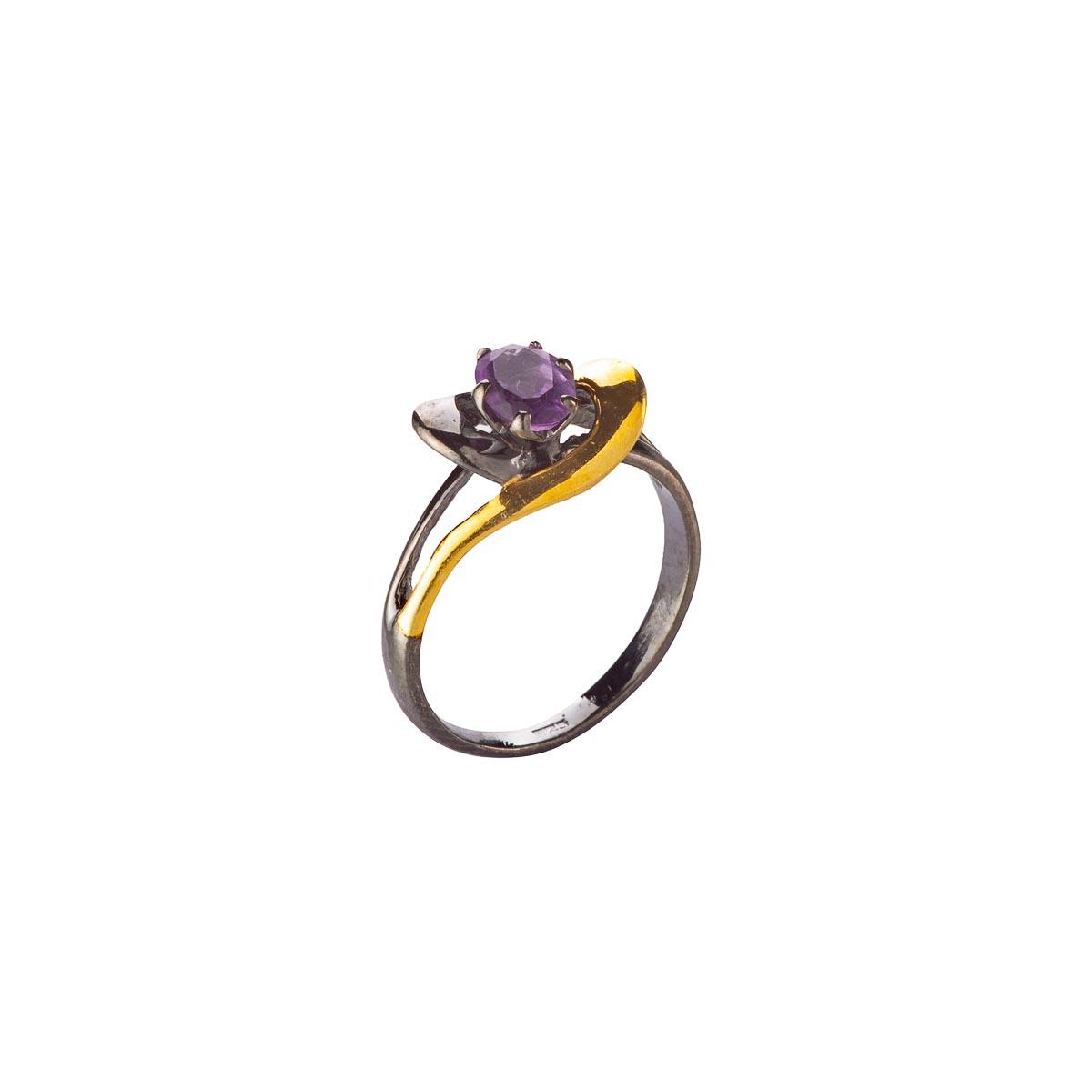 Кольцо с аметистом из серебра и черного родия