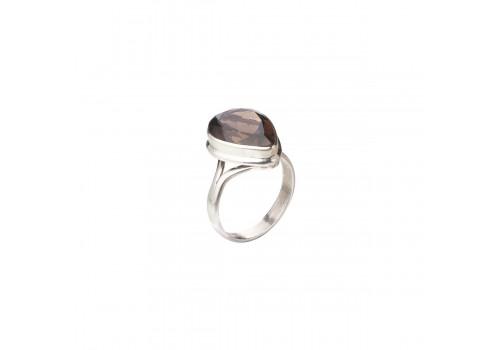 Кольцо с натуральным раухтопазом из серебра