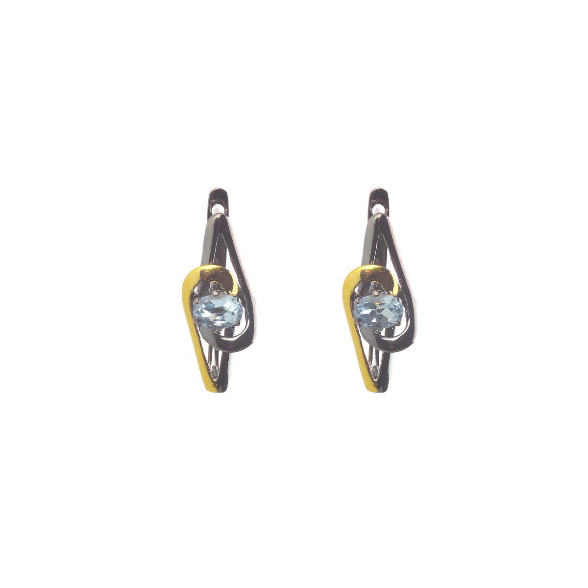Комплект украшений с голубым топазом из серебра и черного родия
