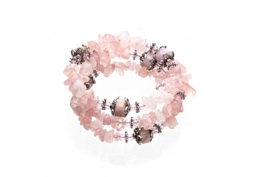 Браслет с розовым кварцем и кунцитом