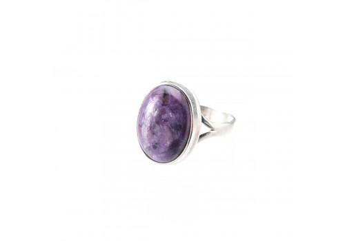 Кольцо из серебра с чароитом, 18.5 размер