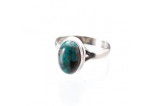 Кольцо из серебра с хризоколлой, 18 размер