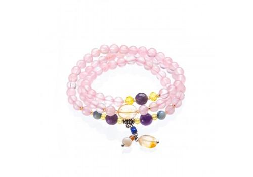 Браслет с розовым кварцем, аметистом и цитрином