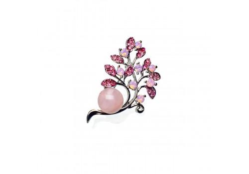 Брошь с розовым кварцем
