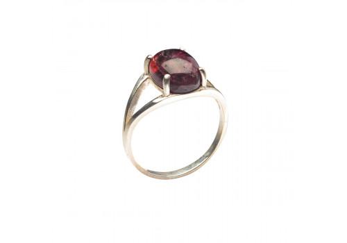 Кольцо с натуральным турмалином из серебра