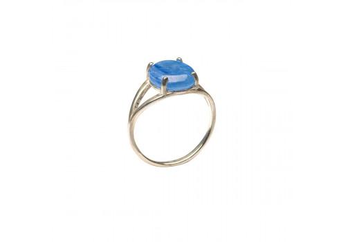 Кольцо с натуральным кианитом из серебра