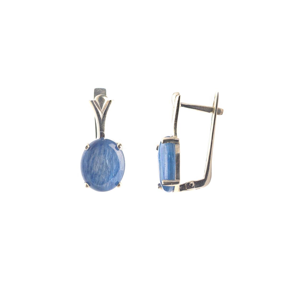 Комплект украшений с натуральным кианитом из серебра