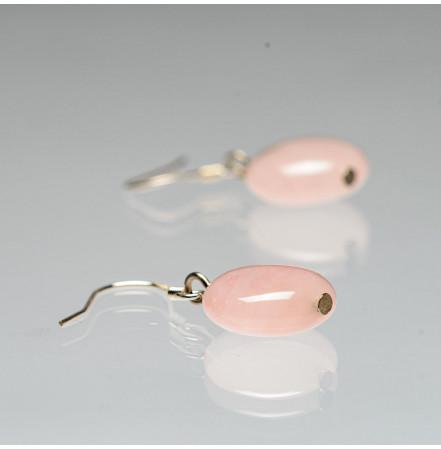 Серьги с розовым кварцем из серебра