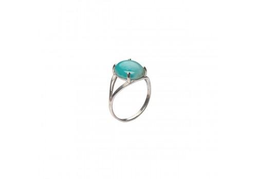 Кольцо с натуральным амазонитом из серебра