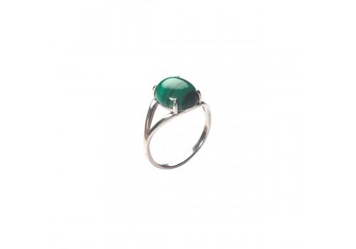 Кольцо с натуральным малахитом из серебра