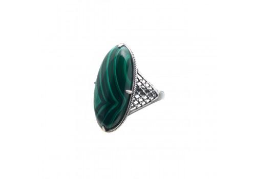 Кольцо из малахита, 18.5 размер