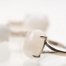 Комплект украшений  с натуральным адуляром  из серебра (лунный камень)