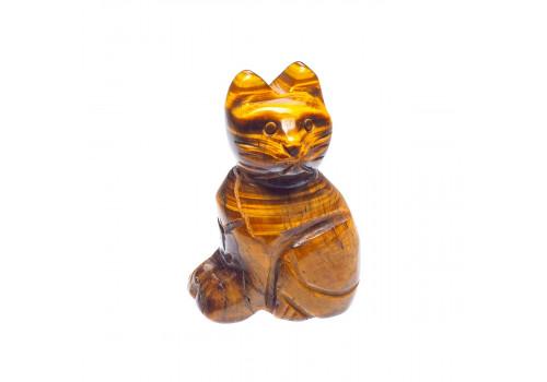 Фигурка Кот из тигрового глаза