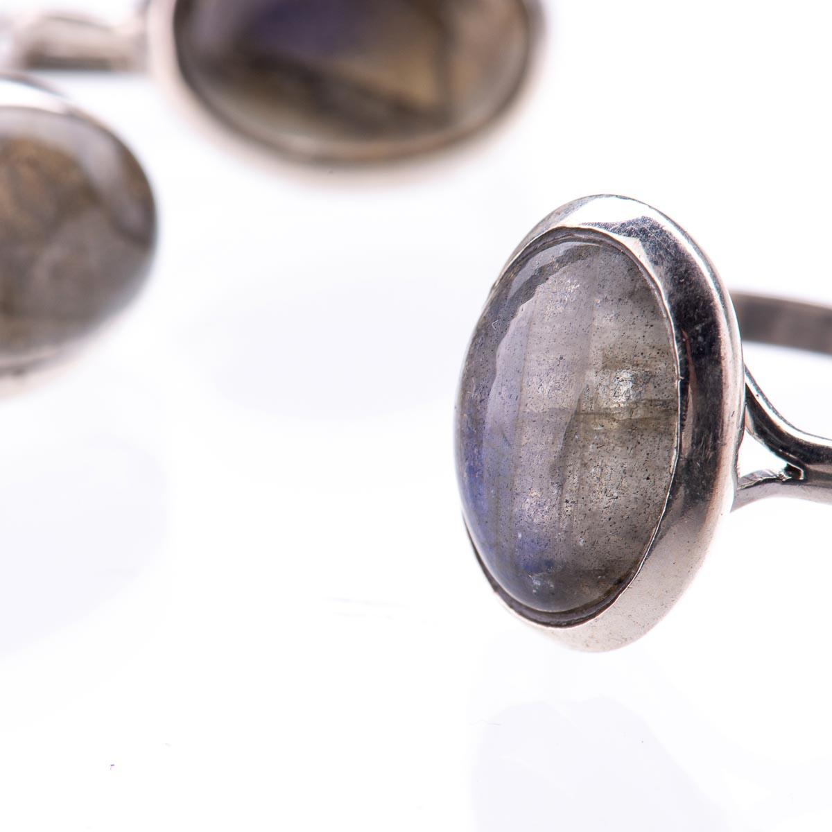 Комплект украшений  с лабрадором из серебра