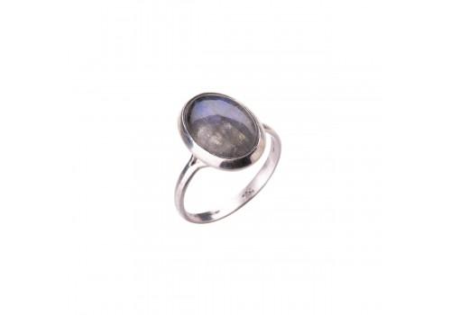 Кольцо  с лабрадором из серебра
