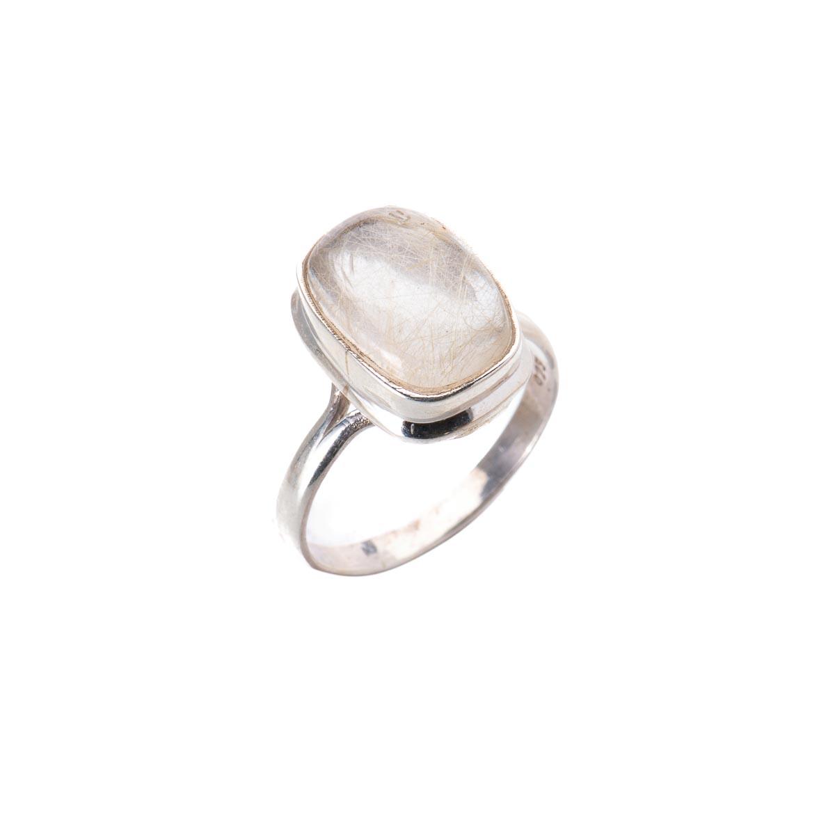 Кольцо с рутиловым кварцем  волосатик из серебра