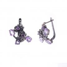 Комплект украшений с аметистом из серебра и черного родия
