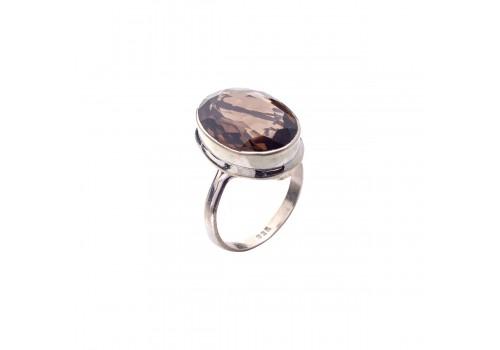 Кольцо с раухтопазом из серебра
