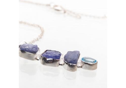 Кулон с кианитом и голубым топазом из серебра