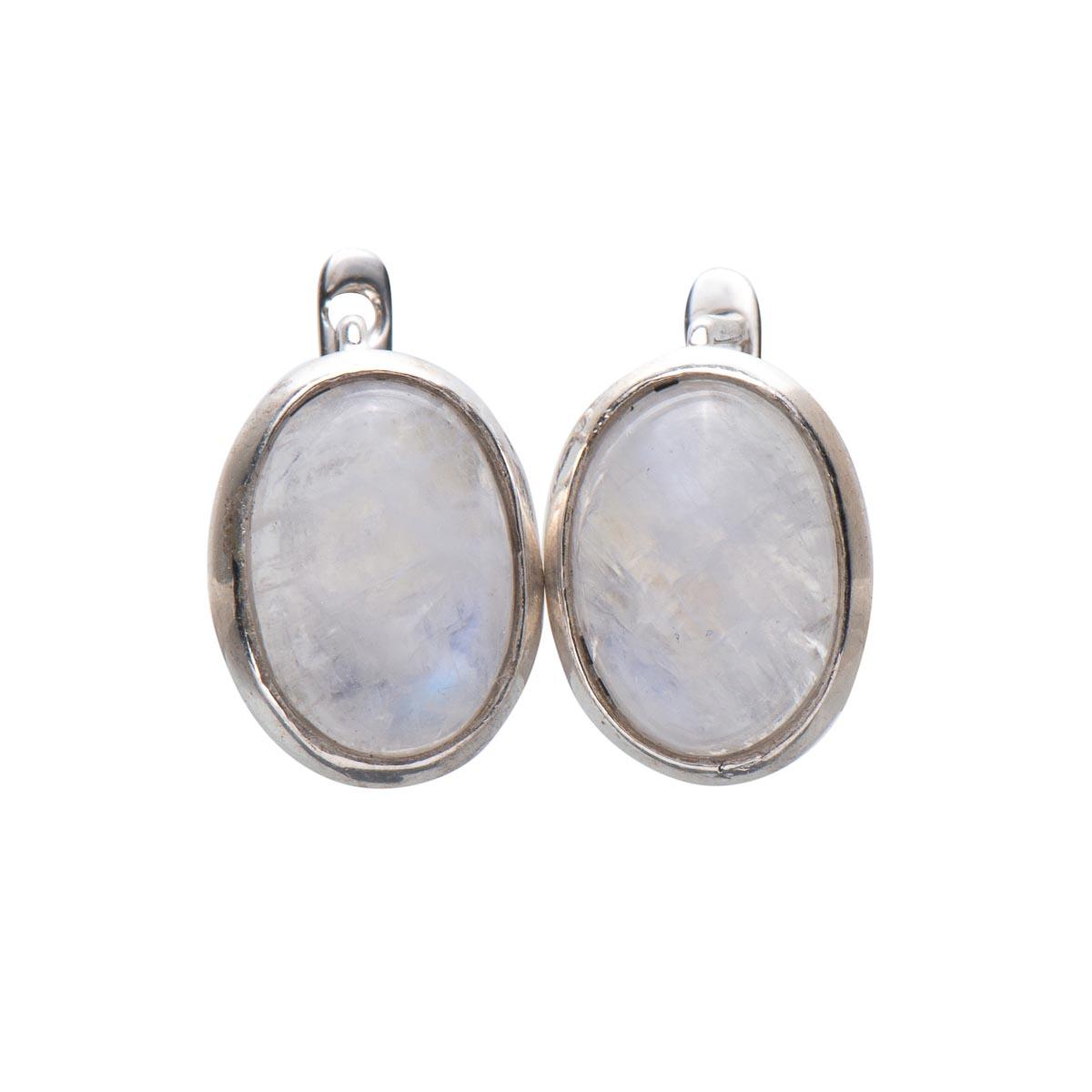 Серьги с натуральным адуляром (лунный камень) из серебра