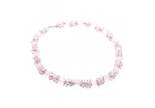 Колье с розовым кварцем